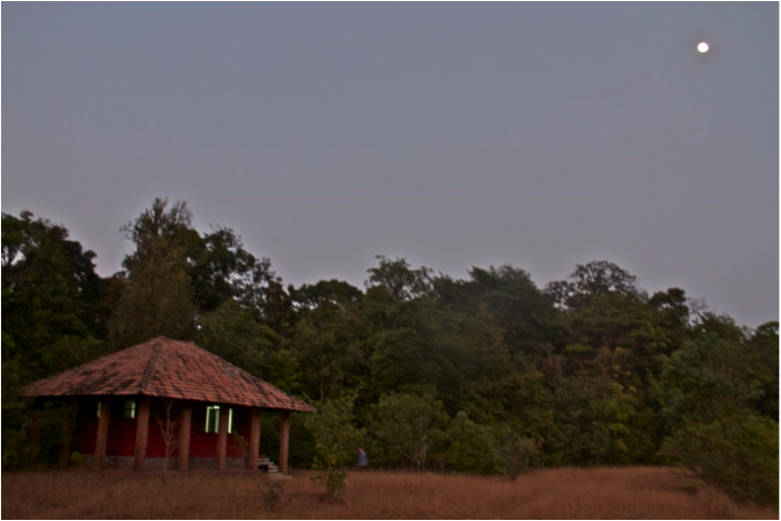 Moonrise at the little house in the clearing at Agumbe